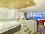 The bedroom area is raised up so you still have a sea view form the bed