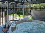 Relax your muscles in the community hot tub.