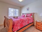 Fall fast asleep in the queen-sized bed in the master bedroom.