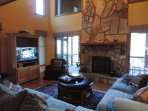 Living Room also has a 40 Flat Screen TV with Wood Burning Fire Place
