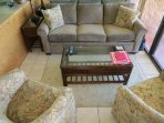 Living Room with Queen Sofa Bed and Two Swivel Rocker Chairs
