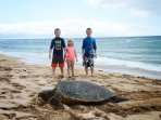 Our Grandkids Say Hello to Honu on South Beach