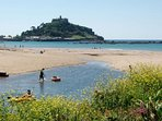The safe, shallow beach at Marazion, with the Mount behind.