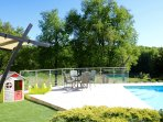 Heated pool with retractable cover ensures enjoyable swimming from Easter to November