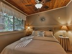 Bedroom with queen size bed with comfortable, deluxe bedding - has own bathroom