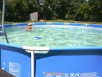 Cool off in the above ground swimming pool. 4.5 x 1.2m. Toys and floats available