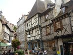 The medieval city of Montluçon and it's bars, restaurants and shops as well as a weekly market