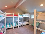 The upstairs bunk room has 4 twin-sized bunk beds - perfect for the kids!