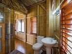 Shared bathroom in the annex palapa.