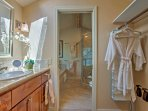 Freshen up in the spacious master bedroom.
