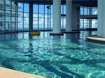 4th level indoor pool with views of the gulf