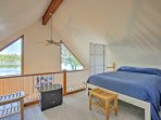 The loft includes a queen bed and comfortable cot for additional sleeping accommodations.