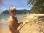 Picking & eating mangoes on Castara main beach