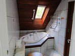 master bathroom, spa bath, separate shower, toilet & sink, sauna