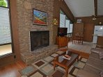 River Rock Fireplace in Living Room
