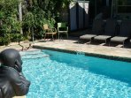 Our beautiful 15 X 30 heated pool. Lots of Lounge chairs to soak up the sun.