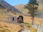Ruins of the chapel at Cwmorthin - deserted slate quarry village.