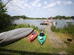 Your own pontoon boat included with your stay! Kayaks, canoes, paddle boats...