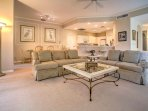 The condo's open layout provides guests with plenty of room to relax during their stay.
