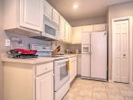 The fully equipped kitchen has everything you'll need to prepare home-cooked meals during your stay.