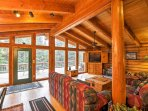 The beautiful cabin boasts 3,000 square feet of tastefully appointed living space.