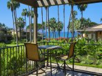 The lanai also has an intimate bar-height table with a wonderful ocean view