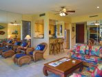 Wonderful tropical furnishings and ceiling fans throughout the condo