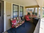 The front porch is the perfect place to enjoy your morning coffee, before heading to the mountains.