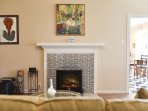 Forced are heating with faux fireplace for ambiance