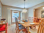 The dining room table has seating for 6 guests.