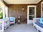 Walk out the front door to a cozy porch!  388 Main Street (The Priscilla House) Chatham Cape Cod New England Vacation...