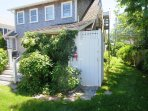 Outdoor shower - enclosed - hot and cold water - 388 Main Street (The Priscilla House) Chatham Cape Cod New England...