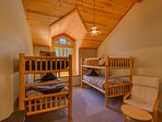 Upstairs guest bedroom with two sets of bunk beds