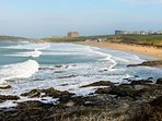 Fistral Beach 5 minutes walk from apartment.