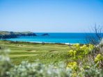 Newquay Golf Course, looking towards Fistral Beach.