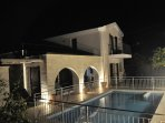 There is atmospheric lighting in the pool and on the verandah for evening times
