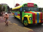 Sightseeing by open bus. Plenty to do or see on Curacao; enjoy the mixed cultural lifestyle!