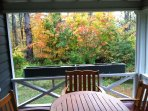 Dine on the porch with autumn colors as a backdrop.