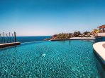 Beautiful private pool where the Sea of Cortez meets the Pacific Ocean