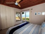 Middle bedroom with super-king bed and view of the sea.