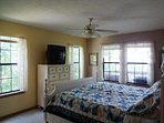 Mastr Suite with king bed and memory foam mattress.  Large bath off bedroom.
