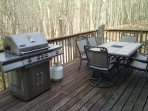 Grill and patio set on back deck.
