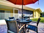 Dine out on the patio with seating for 4.
