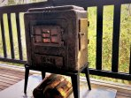 Our beautiful little Warmray heater on the back deck.