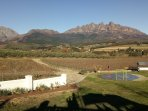 View on Drakensteyn mountains from terras restaurant Val du Charron 10 min from Lady Loch