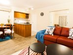 A very spacious one-bedroom apartment that comfortably accommodates 4 persons