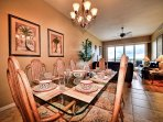 Dining area has seating for 6 guests