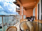 Enjoy morning coffee on the balcony.