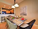 Eat in at the large dining table.