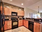 Kitchen has plenty of counter space for creating meals.